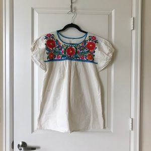 Vintage cream embroidered floral top, size S